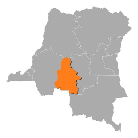 Map of Democratic Republic of the Congo where Kasai-Occidental is highlighted.