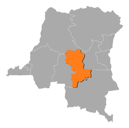 republique: Map of Democratic Republic of the Congo where Kasai-Oriental is highlighted.