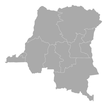 republic of the congo: Map of Democratic Republic of the Congo with the several states