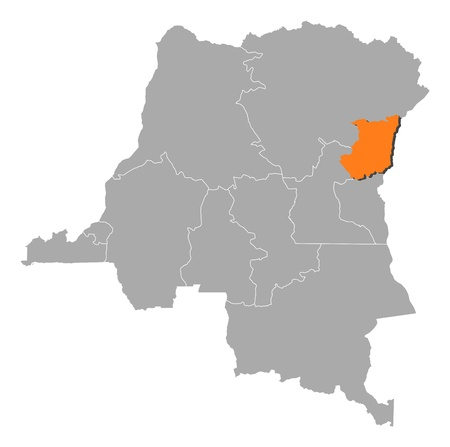 republique: Map of Democratic Republic of the Congo where North Kivu is highlighted.