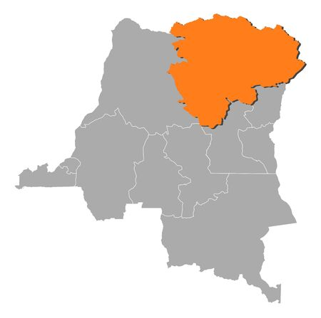 Map of Democratic Republic of the Congo where Orientale is highlighted. Vector