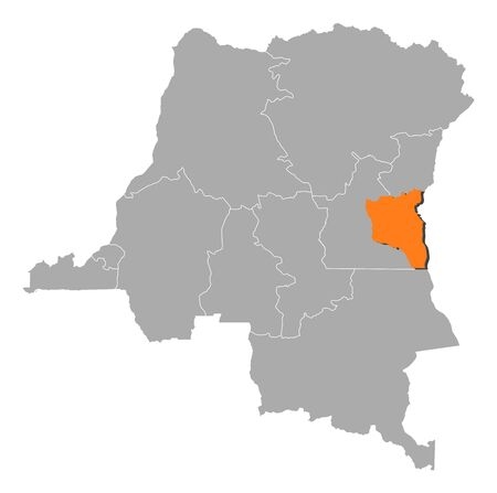 Map of Democratic Republic of the Congo where South Kivu is highlighted. Vector