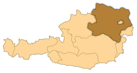 Map of Austria where Lower Austria is highlighted. photo