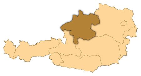 Map of Austria where Upper Austria is highlighted. photo