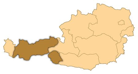 Map of Austria where Tyrol is highlighted. Stock Photo - 14494261