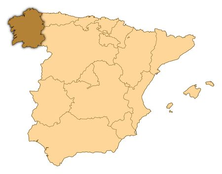 Map of Spain where Galicia is highlighted. photo