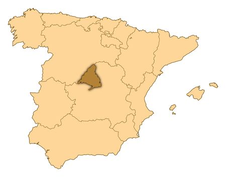 Map of Spain where Madrid is highlighted. photo