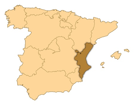 valencian: Map of Spain where Valencian Community is highlighted.