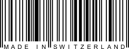 Made in Switzerland with a barcode (EAN). Vector