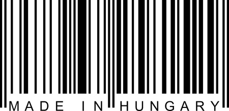 ean: Made in Hungary with a barcode (EAN). Illustration