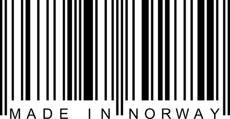 ean: Made in Norway with a barcode (EAN). Illustration