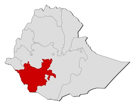 nationalities: Map of Ethiopia with the provinces, Southern Nations, Nationalities, and Peoples Region is highlighted.