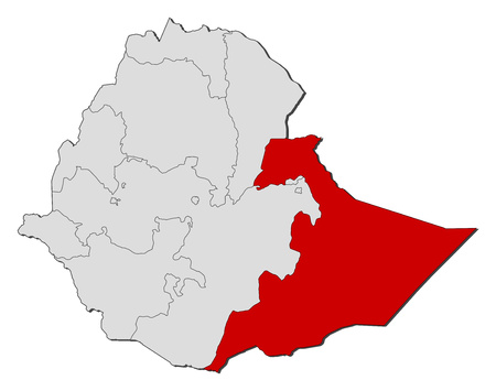 Map of Ethiopia with the provinces, Somali is highlighted.