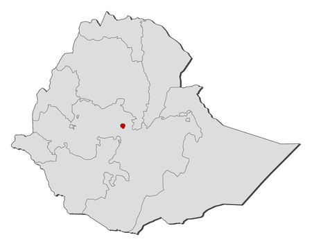 ababa: Map of Ethiopia with the provinces, Addis Ababa is highlighted. Illustration