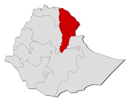 afar: Map of Ethiopia with the provinces, Afar is highlighted. Illustration