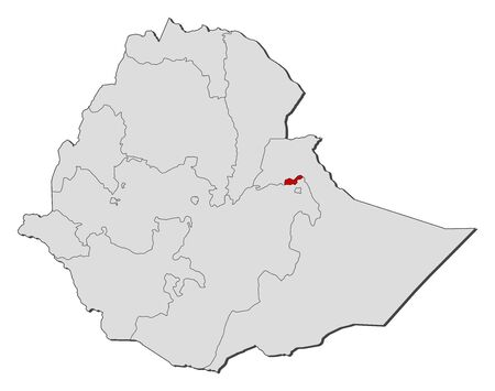 dire: Map of Ethiopia with the provinces, Dire Dawa is highlighted.
