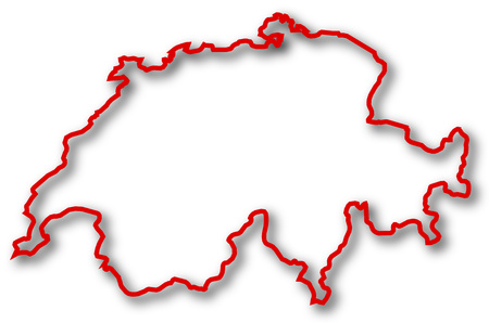 swizerland: Map of Swizerland in red contour lines with Shadow.