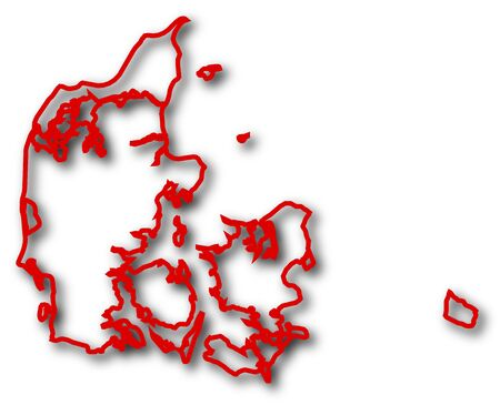 danmark: Map of Danmark in red contour lines with Shadow.
