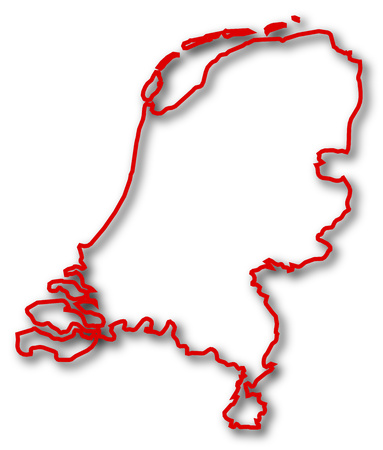 frontiers: Map of Netherlands in red contour lines with Shadow. Illustration