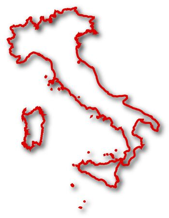italy background: Map of Italy in red contour lines with Shadow.