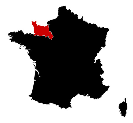 normandy: Map of France in black, Lower Normandy is highlighted in red.