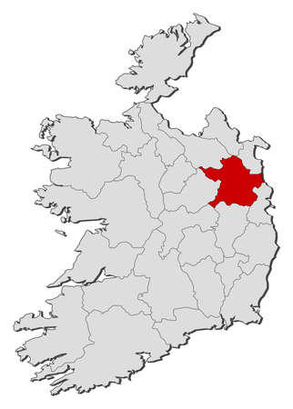 highlighted: Map of Ireland with the provinces, Meath is highlighted.