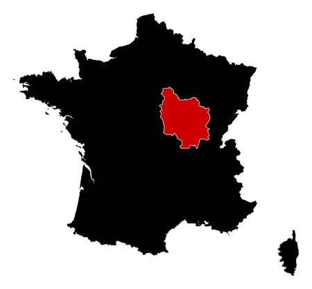Map of France in black, Burgundy is highlighted in red.