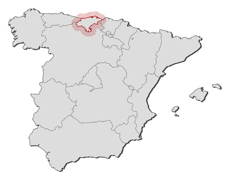 hatching: Map of Spain with the provinces, Cantabria is highlighted by a hatching.