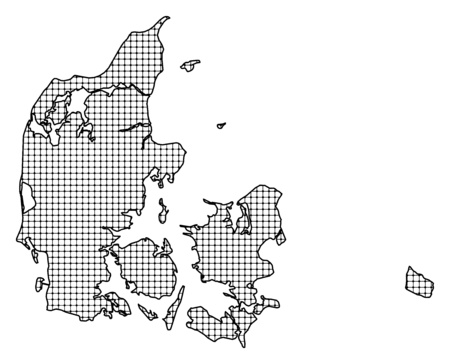 frontiers: Map of Danmark, shaded. Illustration
