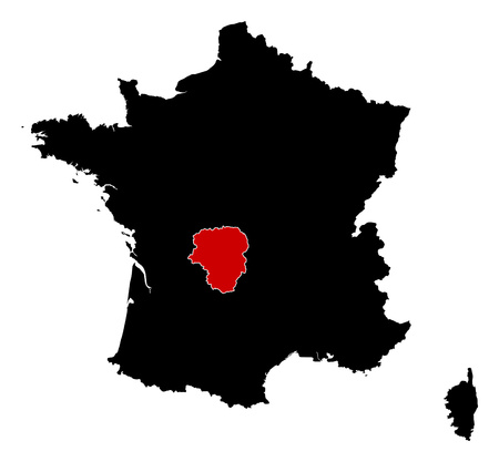 limousin: Map of France in black, Limousin is highlighted in red. Illustration