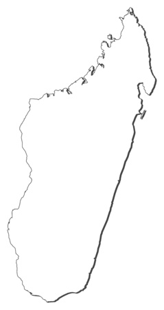 frontiers: Map of Madagascar, contous as a black line.
