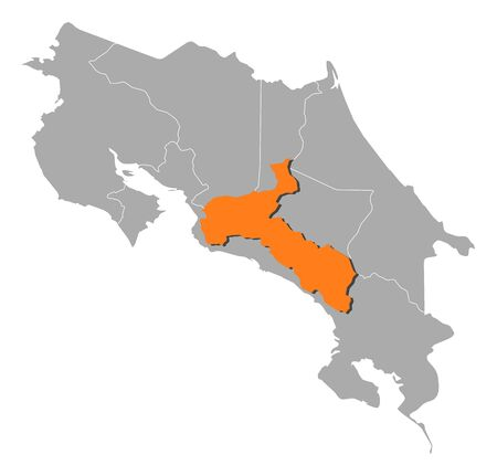 san jose: Map of Costa Rica with the provinces, San Jose is highlighted by orange.