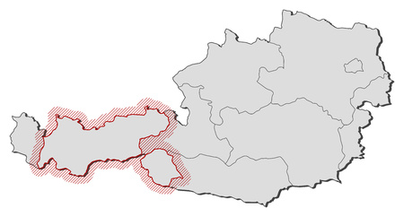 hatching: Map of Austria with the provinces, Tyrol is highlighted by a hatching. Illustration