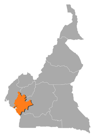 Map of Cameroon with the provinces, Littoral is highlighted by orange.
