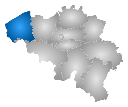 Map Of Belgium With The Provinces Filled With A Radial Gradient