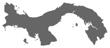 middle america: Map of Panama as a dark area. Illustration