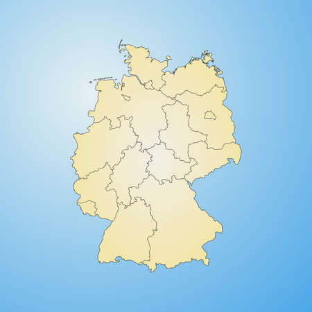 federal republic of germany: Map of Germany with the provinces, filled with a radial gradient.
