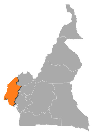 southwest: Map of Cameroon with the provinces, Southwest is highlighted by orange.