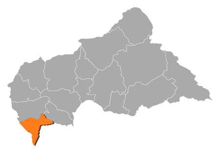 Map of Central African Republic with the provinces, Sangha-Mba?r? is highlighted by orange.