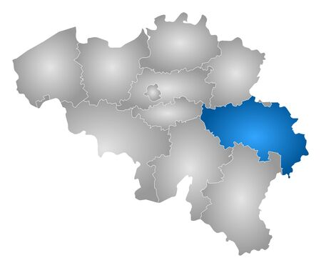 tone shading: Map of Belgium with the provinces, filled with a radial gradient, Li?ge is highlighted. Illustration