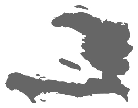 middle america: Map of Haiti as a dark area. Illustration