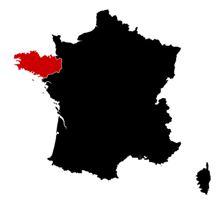 brittany: Map of France in black, Brittany is highlighted in red.