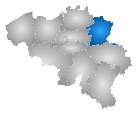 limburg: Map of Belgium with the provinces, filled with a radial gradient, Limburg is highlighted. Illustration