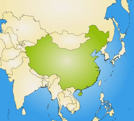 Map of China and nearby countries, filled with a radial gradient. Illustration