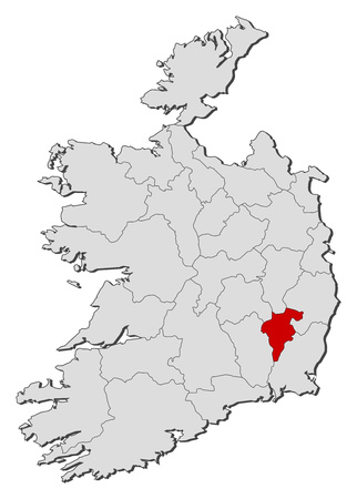 Map of Ireland with the provinces, Carlow is highlighted.
