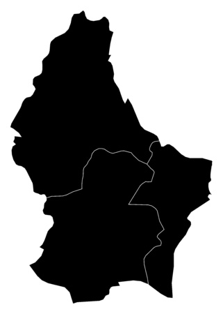 frontiers: Map of Luxembourg in black with the provinces.