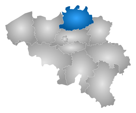 Map of Belgium with the provinces, filled with a radial gradient, Antwerp is highlighted. Illustration