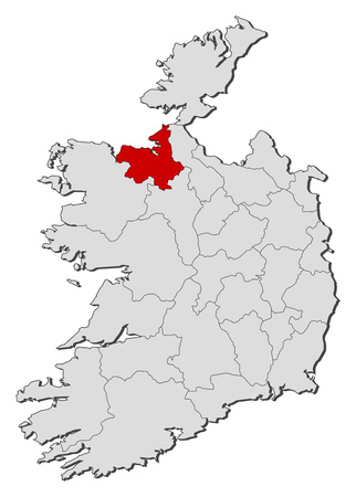 Map of Ireland with the provinces, Sligo is highlighted.