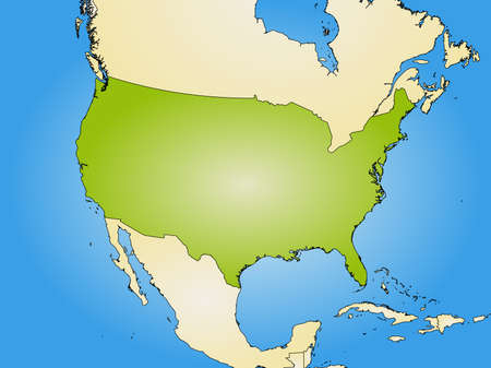 tone shading: Map of United States and nearby countries, filled with a radial gradient.