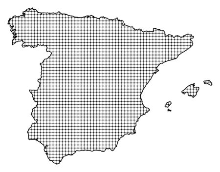 frontiers: Map of Spain, shaded.
